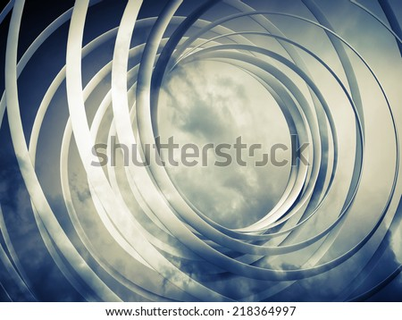 Monochrome abstract 3d toned spiral background with clouds - stock photo