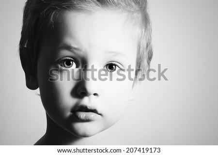 monochrome art portrait of Child. Little Boy. Handsome Kid.close-up.black and white  - stock photo