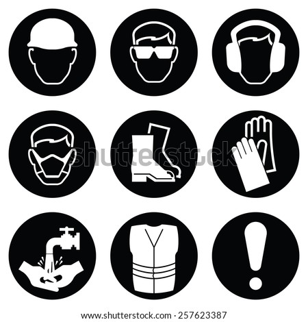 Monochrome black and white Construction and manufacturing Industry Health and Safety Icon collection isolated on white background - stock photo