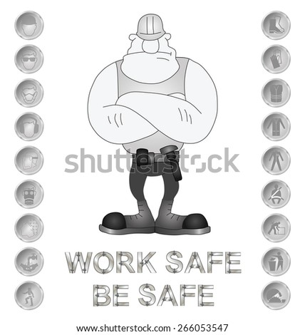 Monochrome construction manufacturing and engineering health and safety related message isolated on white background - stock photo