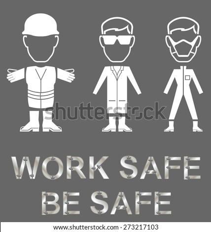 Monochrome construction manufacturing and engineering health and safety related message isolated on grey background - stock photo