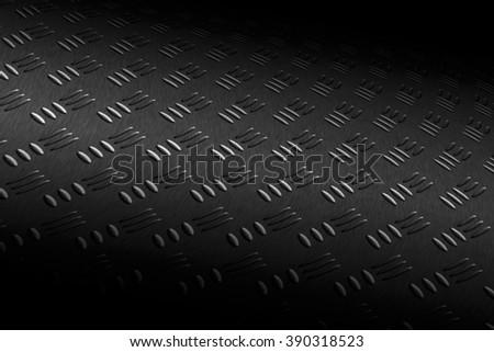 monochrome curve diamond plate with lighting and drop of paint on black shadow background. - stock photo