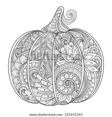 Monochrome Decorative Punkim with Beautiful Pattern. Thanksgiving Symbol. Halloween Decorations - stock photo