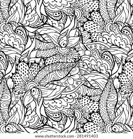 Monochrome doodle illustration. Zentangle abstract background. Perfect for backdrop, card, invitation, wrapping paper. Raster copy. - stock photo