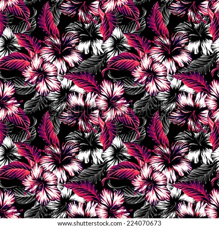 Monochrome exotic floral seamless vintage pattern with hibiscus and leaves in watercolor. - stock photo