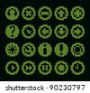 monochrome fluorescent dot-based icon set for control screens and web design. more icons are available. raster version - stock photo