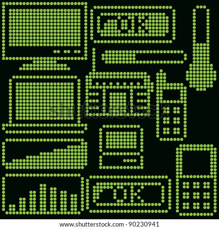 monochrome fluorescent dot-based icon set with gadgets for control screens, terminals, info screens and web design. more icons are available. raster version - stock photo