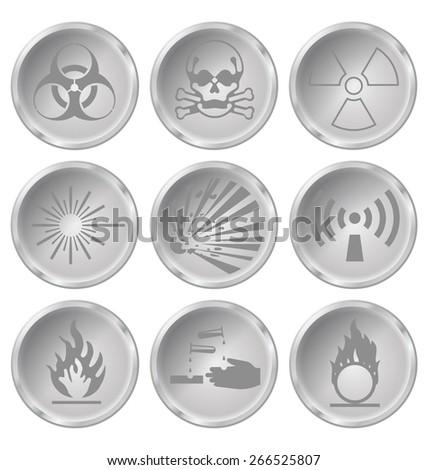 Monochrome hazard related icon set isolated on white background - stock photo