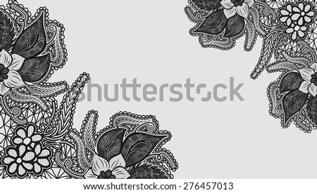 Monochrome lace background. Template greeting card or invitation with flowers in the corners. Rasterized version. - stock photo