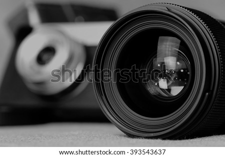 monochrome lens flare object - stock photo