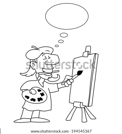 Monochrome outline cartoon artist with thought bubble for own text and blank canvas for own graphics isolated on white background - stock photo