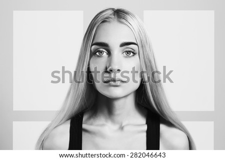 monochrome portrait of Young blond woman.Beautiful blonde Girl - stock photo