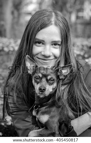 Monochrome portrait with puppy dog - stock photo