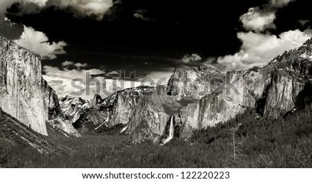 monochrome yosemite national park vista for travel background california USA - stock photo