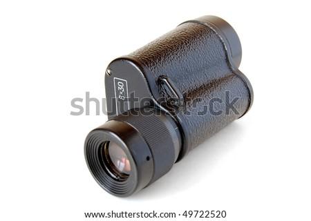 Monocular (Half-a-Binocular) isolated on white background . - stock photo