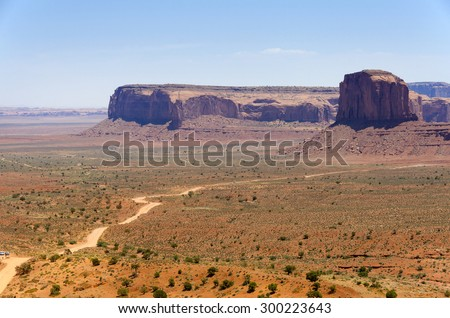 Monolith in Monument Valley in Utah in the United States of America - stock photo