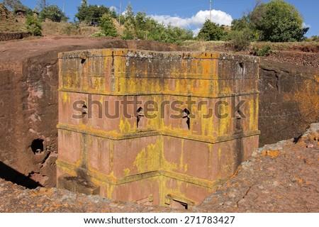Monolithic church Saint George, Lalibela, Ethiopia, Africa - stock photo