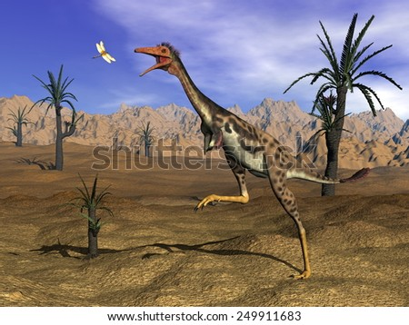 Mononykus dinosaur hunting a dragonfly in the desert surrounded with williamsonia trees- 3D render - stock photo