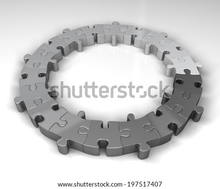 monotone gradient puzzle circle in shades of grey - stock photo