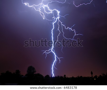 Monsoon Lightning, Tucson AZ - stock photo