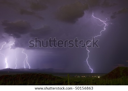 Monsoon storms over desert southwest United States - stock photo