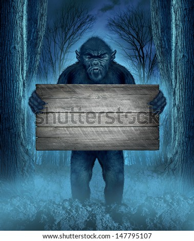Monster holding a rustic blank old wood sign as a creepy halloween concept of a werewolf or bigfoot creature in dark scary background with a moon glow as a horror symbol of a haunted animal icon. - stock photo