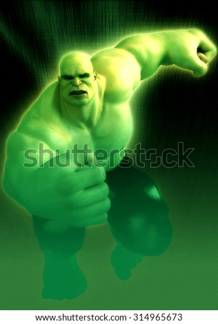 monster man radioactive running - stock photo