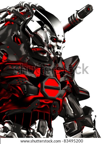 monster robot stand up portrait - stock photo