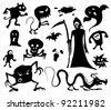 Monsters, Ghosts And The Grim Reaper - Jpeg version of vector illustration - stock photo