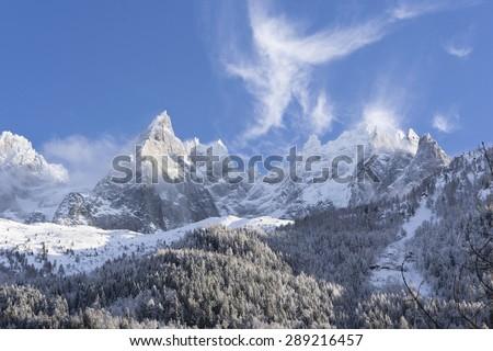 Mont Blanc, Chamonix. Slopes under snow - stock photo