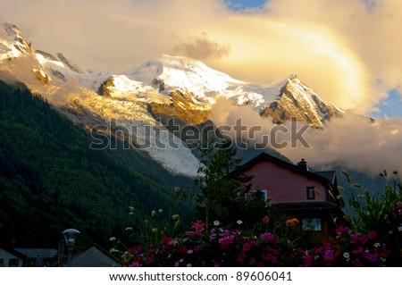 Mont Blanc from Chamonix, France - stock photo
