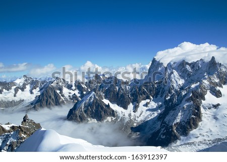 Mont Blanc massif in the French Alps  - stock photo