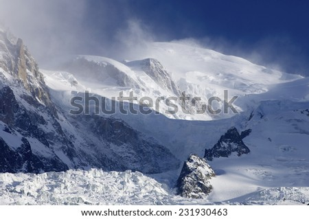 Mont Blanc, Mont Blanc Massif, Chamonix, Alps, France - stock photo