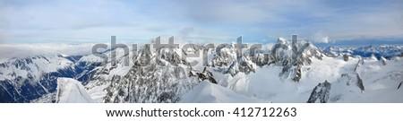 Mont Blanc mountain, Chamonix, France, panorama - stock photo