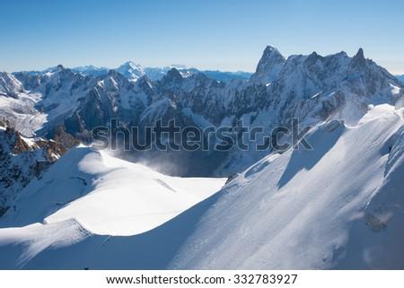 Mont Blanc mountain, White mountain (view from Aiguille du Midi Mount, France) - stock photo