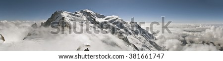 Mont Blanc Panorama in French Alps - stock photo
