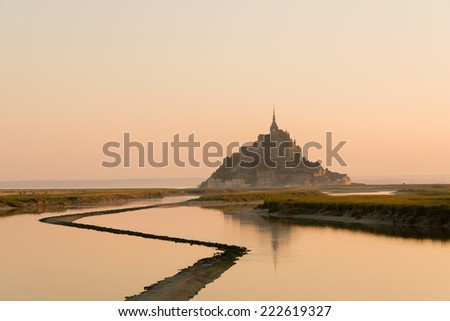 Mont Saint-Michel at dawn - stock photo