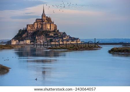 Mont Saint-Michel, France. Mont Saint-Michel is an international place of pilgrimage. - stock photo