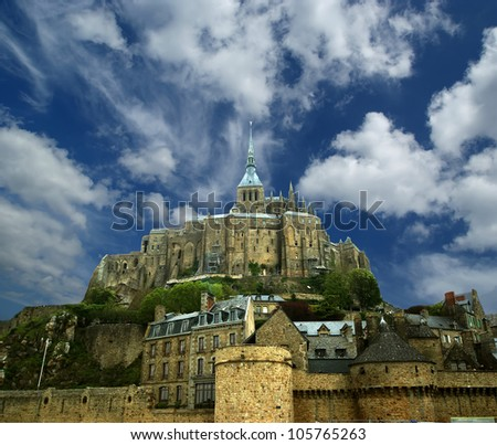 Mont Saint-Michel, Normandy, France--one of the most visited tourist sites in France - stock photo