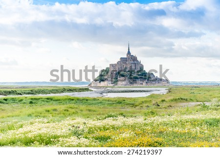 Mont St Michel world famous tourist attraction in Normandy, France - Famous historic place of French culture and heritage  - stock photo