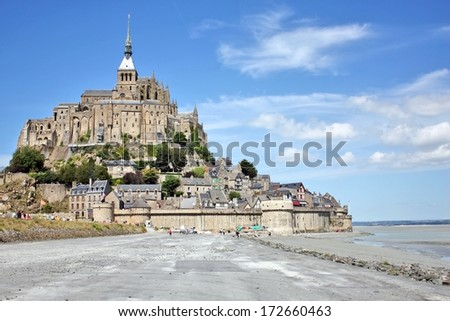 Mont St Michel world famous tourist attraction in  northern France - Famous historic place  of French culture and world heritage - stock photo