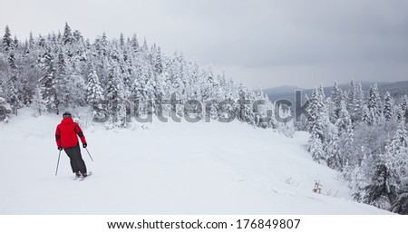 MONT-TREMBLANT, QC, CANADA - FEBRUARY 9:  A lonely skier is sliding down an easy slope at Mont-Tremblant Ski Resort on February 9, 2014. Mont-Tremblant is the best ski resort in Eastern North America. - stock photo