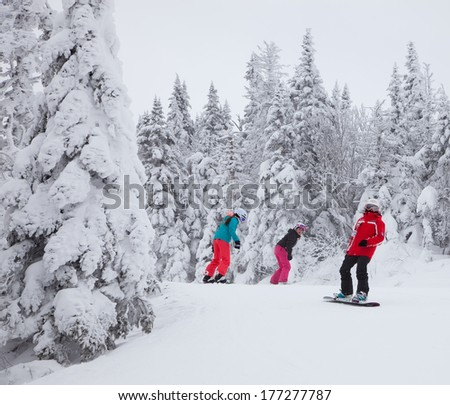 MONT-TREMBLANT, QC, CANADA -FEBRUARY 9: Snowboarders are sliding down an easy slope at Mont-Tremblant Ski Resort on February 9, 2014. It is the best ski resort in Eastern North America. - stock photo
