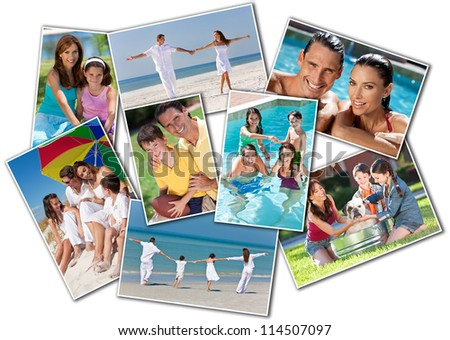 Montage happy family of mother, father and two children, son and daughter, running holding hands on a sunny beach, washing dog, swimming playing football - stock photo