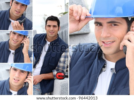 Montage of a construction worker with a walkie talkie - stock photo