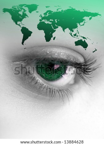 Montage of a pretty color isolated eye with the world continents.  Great image for going green. - stock photo