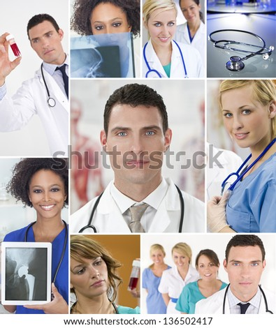 Montage of an interracial successful medical team of nurses and doctors, men and women in a hospital looking at patients X-rays and blood samples - stock photo