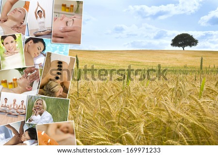 Montage of beautiful interracial women, woman relaxing at a health spa, enjoying head and back massages, hot stone treatments and practicing yoga in a gym, with a natural field and tree background.  - stock photo