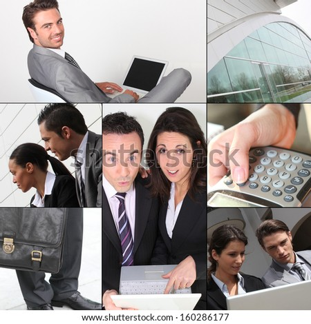 Montage of business images - stock photo