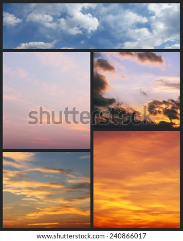 Montage of Cloudscapes in Bright Vivid Colors - stock photo